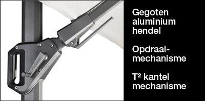 Aluminium gegoten hendel ten behoeve van de parasol van het type Challenger.
