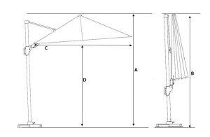 Alexander Cantilever Garden Parasol Size - Patio Parasols For Sale Dublin Ireland